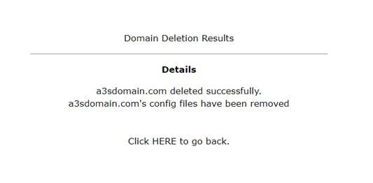 DirectAdmin วิธีการลบโดเมน
