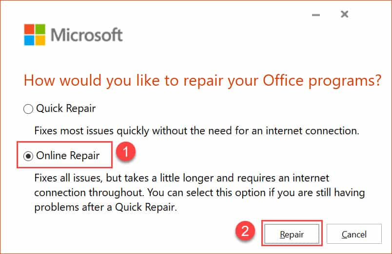 วิธีแก้ไข Microsoft 365 (Word, Excel, PowerPoint, Outlook) Application Error 0xc0000142