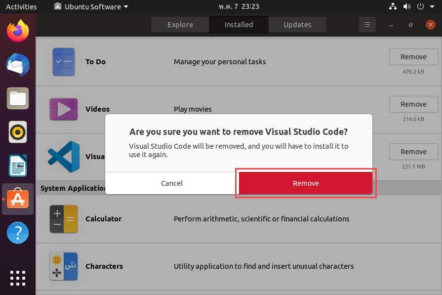 วิธีลบ Visual Studio Code ออกจาก Ubuntu Desktop 20.04 LTS