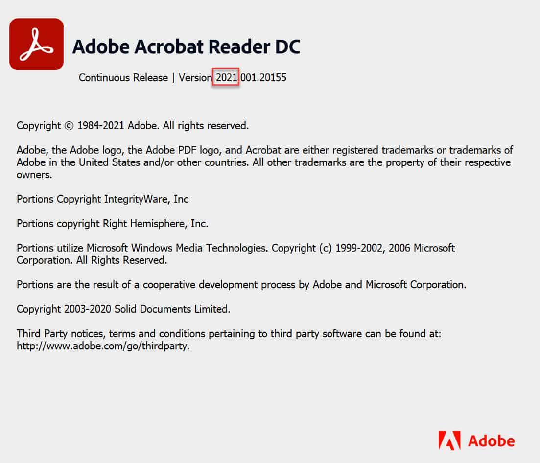 ดาวน์โหลด Adobe Acrobat Reader DC Font Pack สำหรับ Acrobat Reader DC เวอร์ชั่น 2021.x (Continuous)