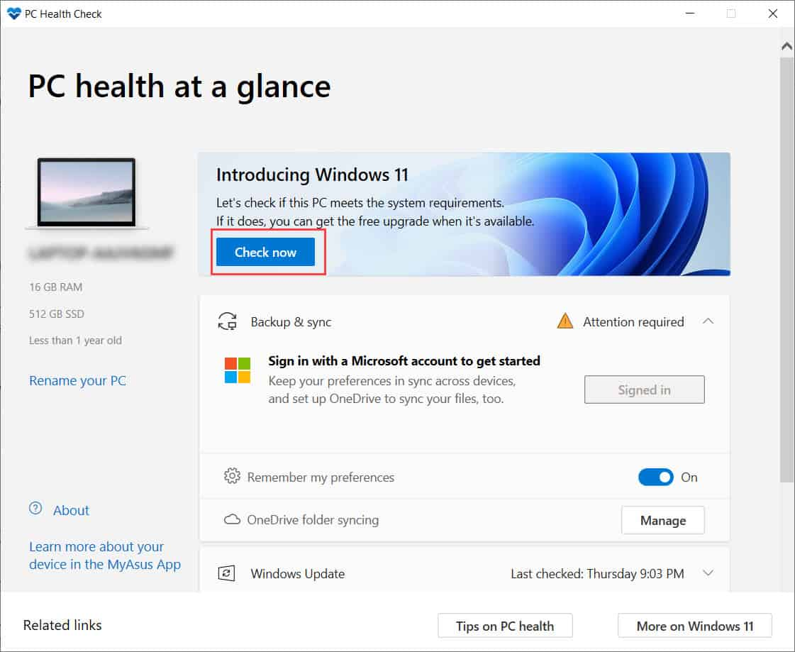 ดาวน์โหลดโปรแกรมเช็คสถานะการอัปเกรดเป็น Windows 11